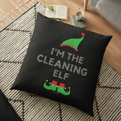 The Cleaning Elf, Savvy Cleaner Funny Cleaning Gifts, Cleaning Floor Pillow