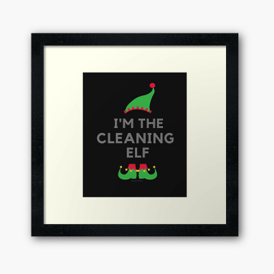 The Cleaning Elf, Savvy Cleaner Funny Cleaning Gifts, Cleaning Framed Art Print