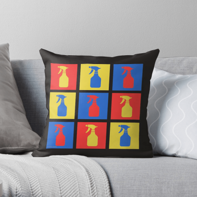 Andy SprayAll, Savvy Cleaner, Funny Cleaning Gifts, Cleaning Throw Pillow