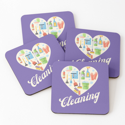 Heart Cleaning, Savvy Cleaner Funny Cleaning Gifts, Cleaning Coasters