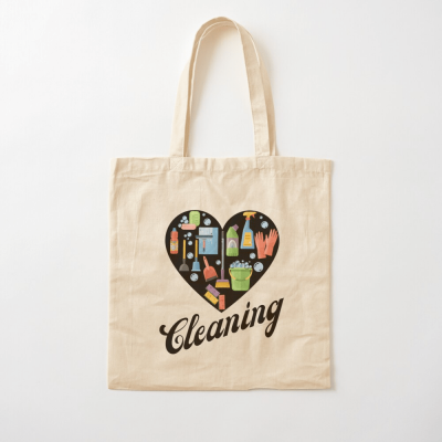 Heart Cleaning, Savvy Cleaner Funny Cleaning Gifts, Cleaning Cotton Tote Bag