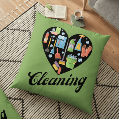 Heart Cleaning, Savvy Cleaner Funny Cleaning Gifts, Cleaning Floor Pillow