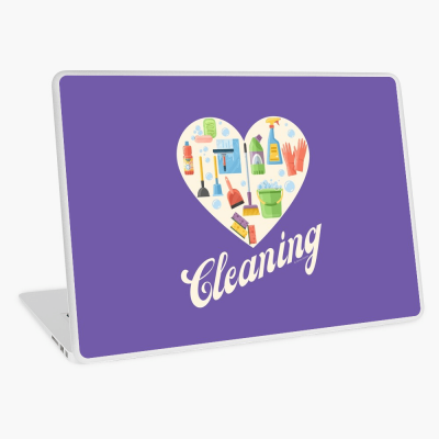 Heart Cleaning, Savvy Cleaner Funny Cleaning Gifts, Cleaning Laptop Skin