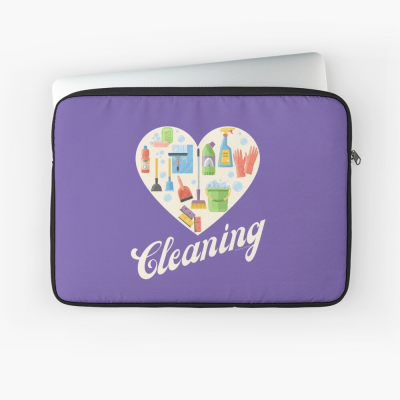 Heart Cleaning, Savvy Cleaner Funny Cleaning Gifts, Cleaning Laptop Sleeve