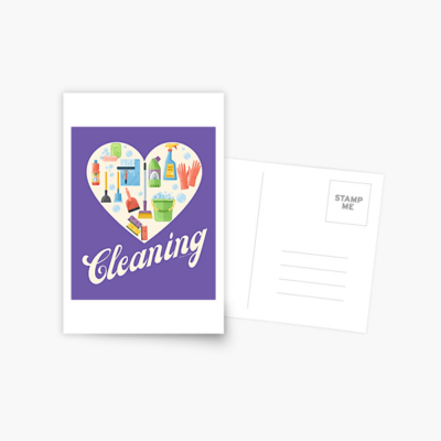 Heart Cleaning, Savvy Cleaner Funny Cleaning Gifts, Cleaning Postcard