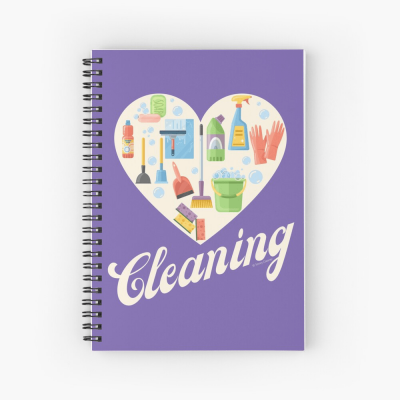 Heart Cleaning, Savvy Cleaner Funny Cleaning Gifts, Cleaning Spiral Notepad