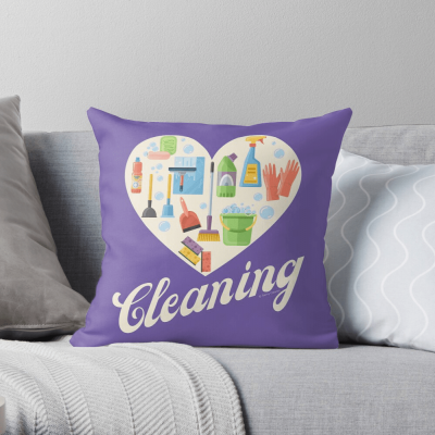 Heart Cleaning, Savvy Cleaner Funny Cleaning Gifts, Cleaning Throw Pillow