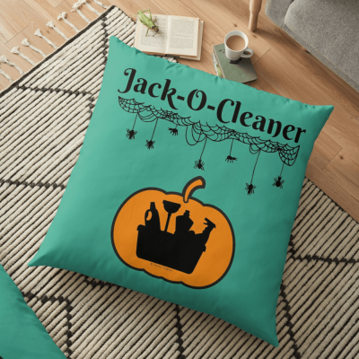 Jack-O-Cleaner, Savvy Cleaner Funny Cleaning Gifts, Cleaning Floor Pillow