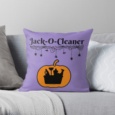 Jack-O-Cleaner, Savvy Cleaner Funny Cleaning Gifts, Cleaning Throw Pillow