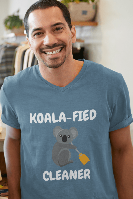Koalafied Cleaner Savvy Cleaner Funny Cleaning Shirts Premium V-Neck T-Shirt