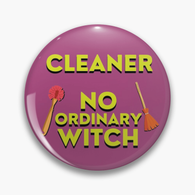 No Ordinary Witch, Savvy Cleaner Funny Cleaning Gifts, Cleaning Button