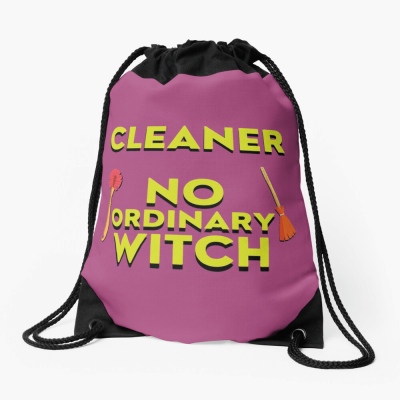 No Ordinary Witch, Savvy Cleaner Funny Cleaning Gifts, Cleaning Drawstring Bag
