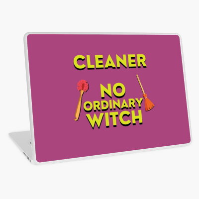 No Ordinary Witch, Savvy Cleaner Funny Cleaning Gifts, Cleaning Laptop Skin