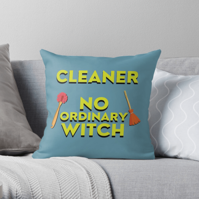 No Ordinary Witch, Savvy Cleaner Funny Cleaning Gifts, Cleaning Throw Pillow