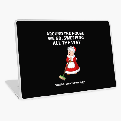 Sweeping All the Way, Savvy Cleaner Funny Cleaning Gifts, Cleaning Laptop Skin