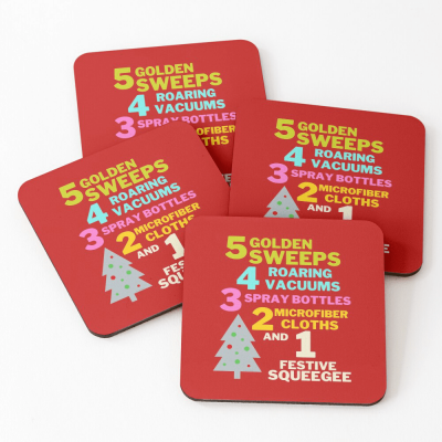 1 Festive Squeegee Savvy Cleaner Funny Cleaning Gifts Coasters