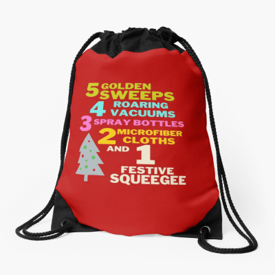 1 Festive Squeegee Savvy Cleaner Funny Cleaning Gifts Drawstring Bag