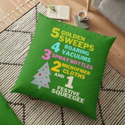 1 Festive Squeegee Savvy Cleaner Funny Cleaning Gifts Floor Pillow