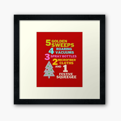 1 Festive Squeegee Savvy Cleaner Funny Cleaning Gifts Framed Art Print
