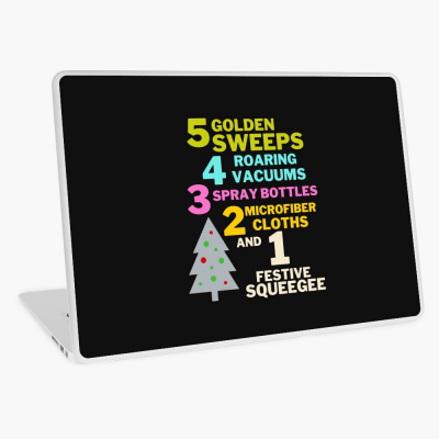 1 Festive Squeegee Savvy Cleaner Funny Cleaning Gifts Laptop Skin