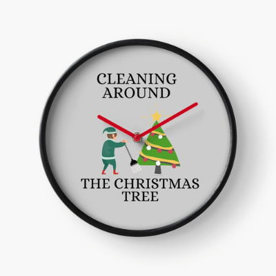 Cleaning Around The Christmas Tree Savvy Cleaner Funny Cleaning Gifts Clock