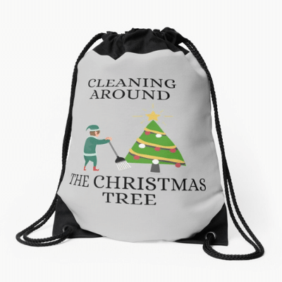 Cleaning Around The Christmas Tree Savvy Cleaner Funny Cleaning Gifts Drawstring Bag