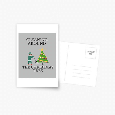 Cleaning Around The Christmas Tree Savvy Cleaner Funny Cleaning Gifts Postcard