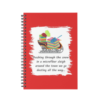 Dusting All The Way Savvy Cleaner Funny Cleaning Gifts Spiral Notebook2