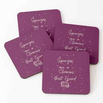 Sponges Are A Cleaner's Best Friend Savvy Cleaner Funny Cleaning Gifts Coasters