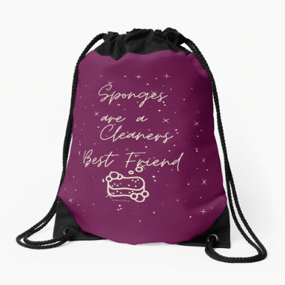 Sponges Are A Cleaner's Best Friend Savvy Cleaner Funny Cleaning Gifts Drawstring Bag