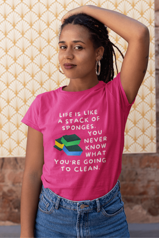 Stack of Sponges Savvy Cleaner Funny Cleaning Shirts Women's Classic T-Shirt