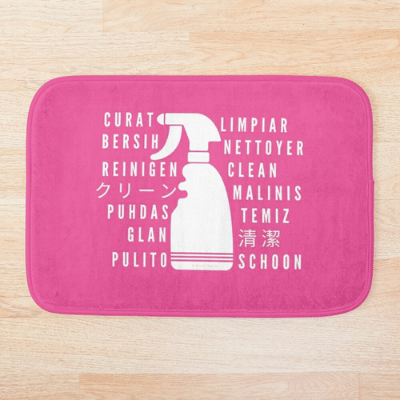 Clean In Every Language Savvy Cleaner Funny Cleaning Gifts Bathmat