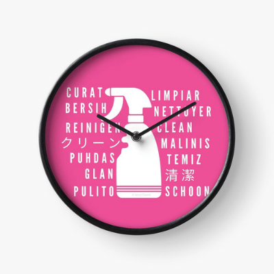 Clean In Every Language Savvy Cleaner Funny Cleaning Gifts Clock