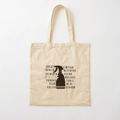 Clean In Every Language Savvy Cleaner Funny Cleaning Gifts Cotton Tote