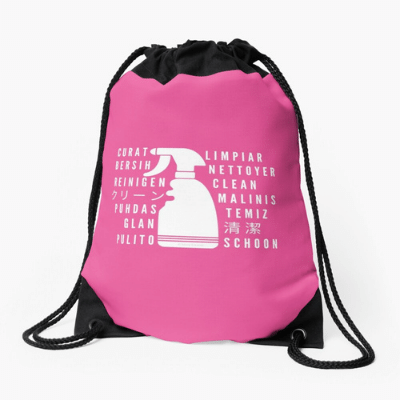 Clean In Every Language Savvy Cleaner Funny Cleaning Gifts Drawstring Bag