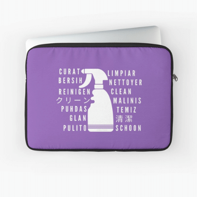 Clean In Every Language Savvy Cleaner Funny Cleaning Gifts Laptop Sleeve