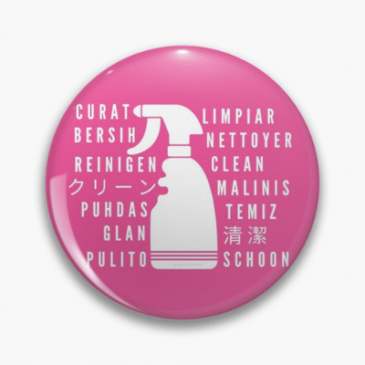 Clean In Every Language Savvy Cleaner Funny Cleaning Gifts Pin