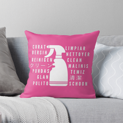 Clean In Every Language Savvy Cleaner Funny Cleaning Gifts Throw Pillow