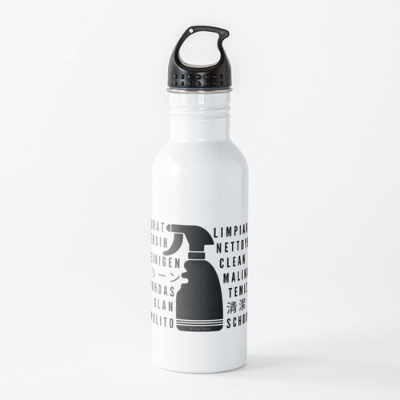 Clean In Every Language Savvy Cleaner Funny Cleaning Gifts Water Bottle