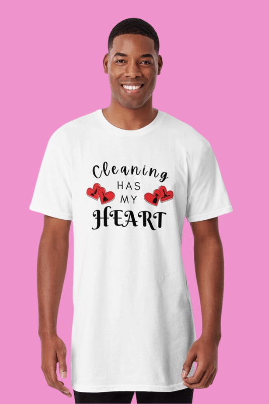 Cleaning Has My Heart Savvy Cleaner Funny Cleaning Shirts Long Tee