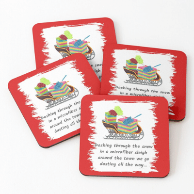 Dusting All The Way Savvy Cleaner Funny Cleaning Gifts Coasters