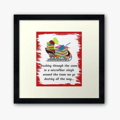 Dusting All The Way Savvy Cleaner Funny Cleaning Gifts Framed Art Print