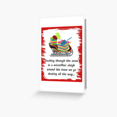 Dusting All The Way Savvy Cleaner Funny Cleaning Gifts Greeting Card
