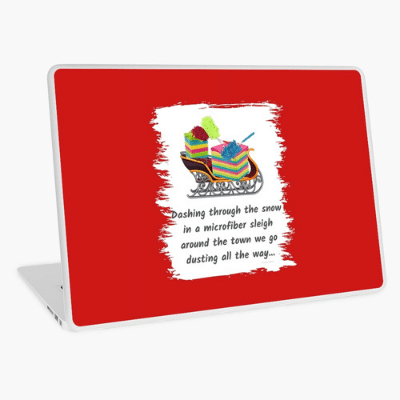 Dusting All The Way Savvy Cleaner Funny Cleaning Gifts Laptop Skin