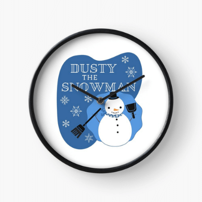 Dusty The Snowman Savvy Cleaner Funny Cleaning Gifts Clock