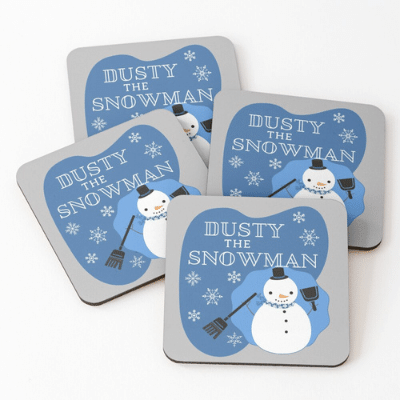 Dusty The Snowman Savvy Cleaner Funny Cleaning Gifts Coasters