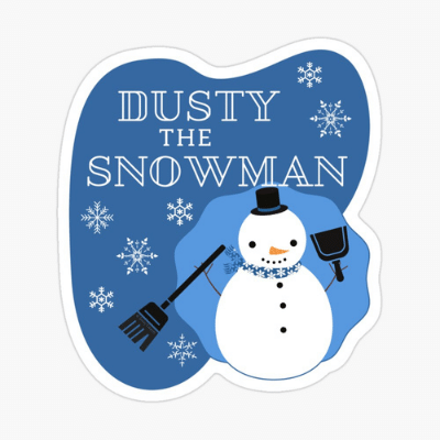 Dusty The Snowman Savvy Cleaner Funny Cleaning Gifts Sticker