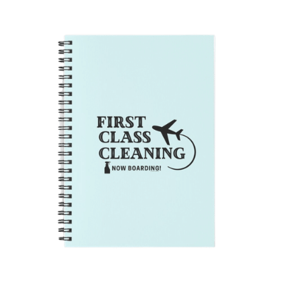 First Class Cleaning Savvy Cleaner Funny Cleaning Gifts spiral notebook