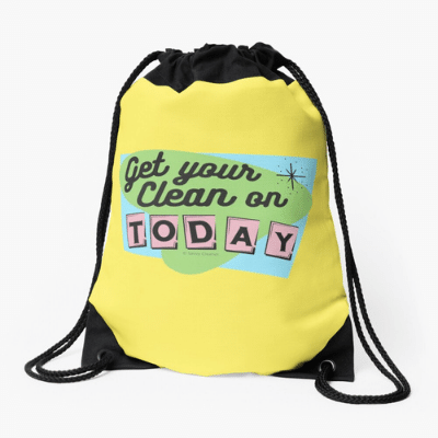 Get Your Clean On Savvy Cleaner Funny Cleaning Gifts Drawstring Bag