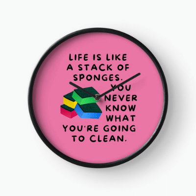 Stack Of Sponges Savvy Cleaner Funny Cleaning Gifts Clock